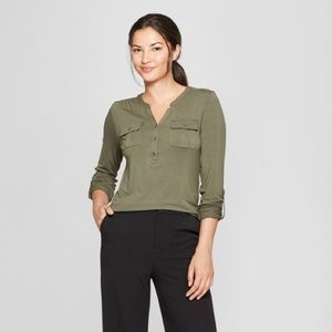 🌿 A New Day Moss Green Utility Top